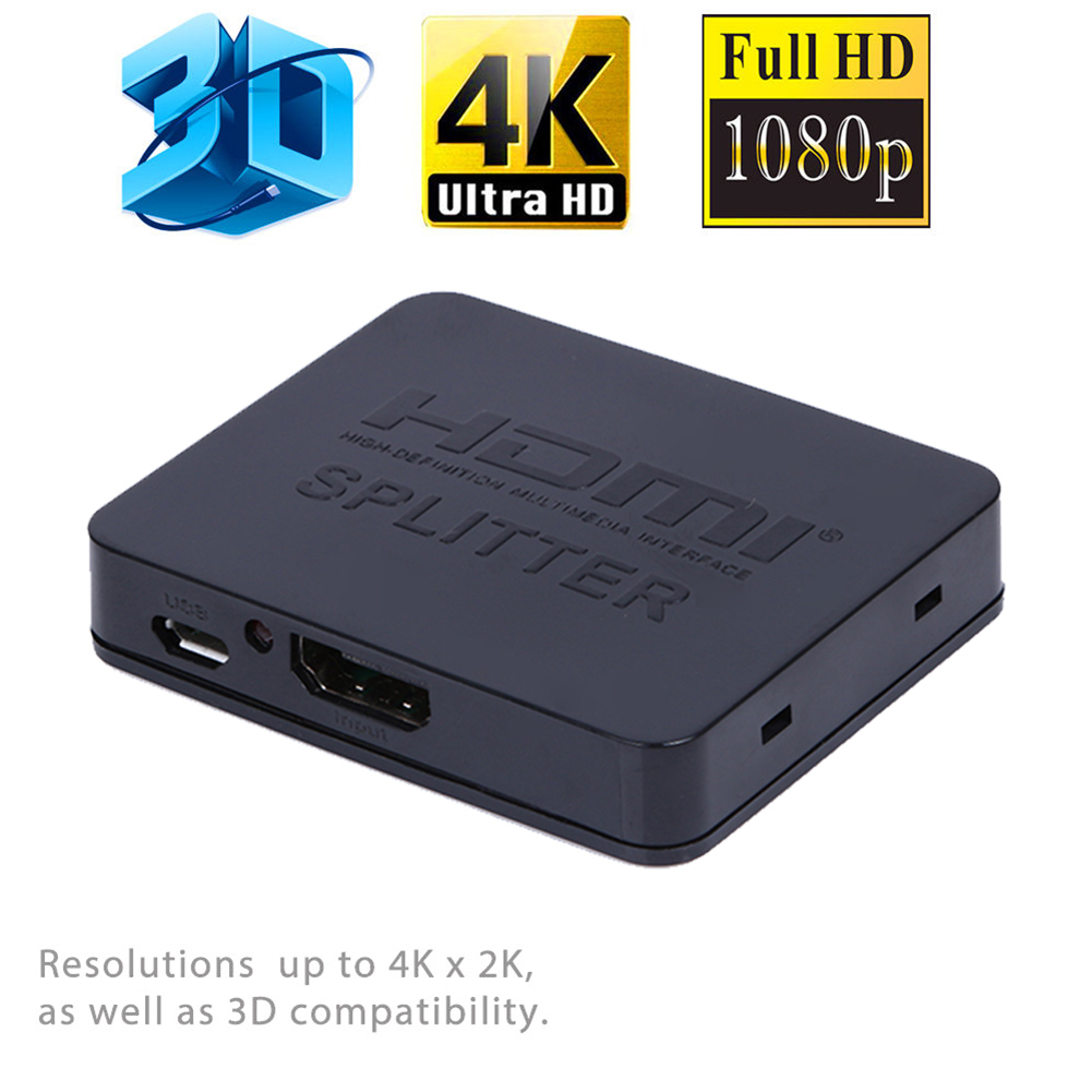 Ultra HD 4K HDMI Splitter 1X2 2 Port Repeater Amplifier 3D 1080p 1 in 2 Out With USB Power Cable(China (Mainland))