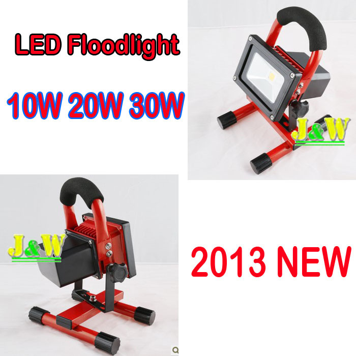 2013 NEW !!! 10W 20W 30W  LED Floodlight Rechargeable Charge Flood light IP65 85~265V 900LM cordless portable high power lamp<br><br>Aliexpress