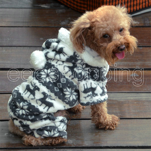 S126 New Dog Cat Pet Winter Warm Casual Soft Snow Flake Hooded Coat Clothes Puppy Apparel Poodle Cute Pattern Outerwear - eeeShopping store