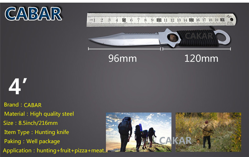 Cabar Brand 2015 New Arrival 96mm Double edge Hunting Camping Diving Outdoor Knife Scabbard Bandage Top