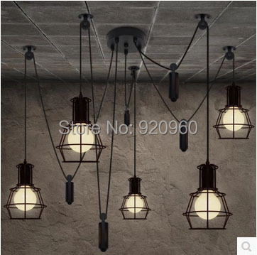 Vintage Lift Small Cages Chandelier Modern Restaurant Iron Lights Bar Chandelier Bedroom Lamp 6 Lamps,8 Lamps,10 Lamps(China (Mainland))