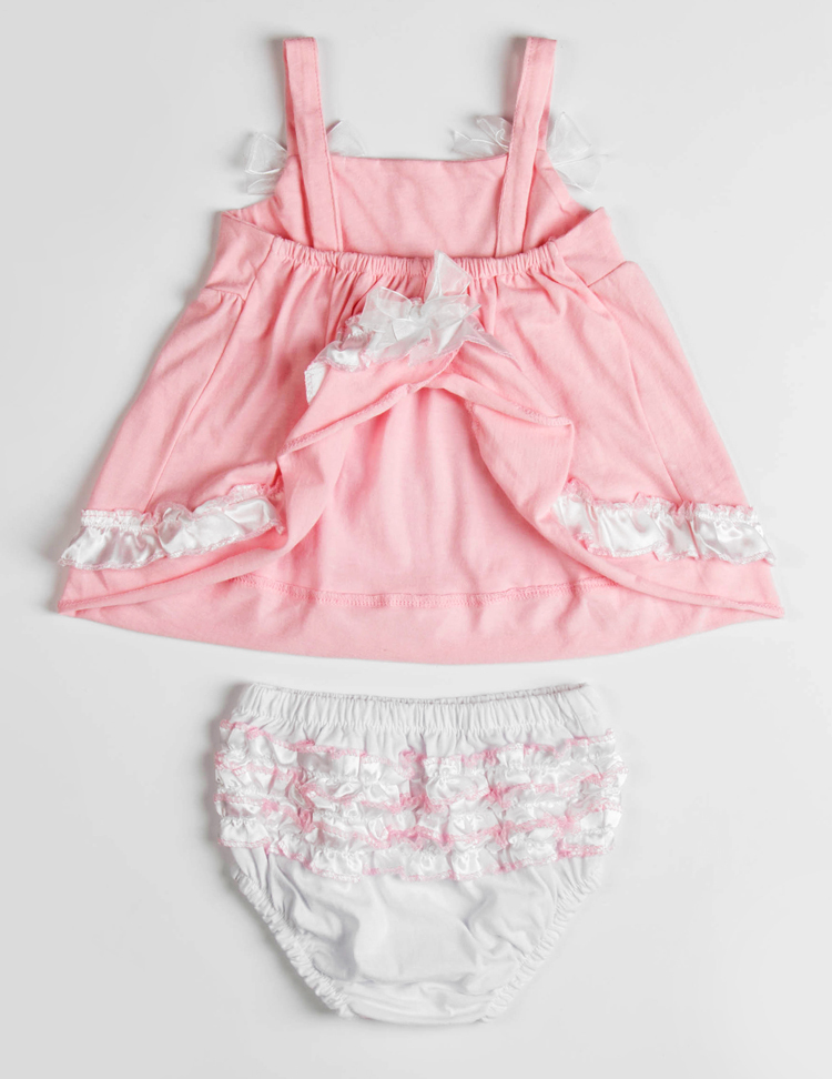Summer Baby Clothing Cotton Bow Knot Camisole Ruched Dress