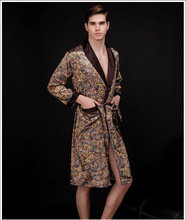 2015 new men's faux silk brand luxury robes bathrobe spring summer autumn sleepwear print long sleeve pajamas(China (Mainland))