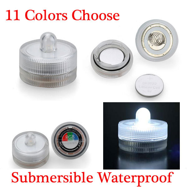 Free DHL 100units/lot Battery operated Submersible LED light as wedding party Lights Decoration 11 Colors(China (Mainland))