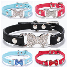Buy Candy Color Pet Cat Collar Luxury Diamante Bling Bone Neck Strap PU Leather Adjustable Small Dog Collar for $1.52 in AliExpress store