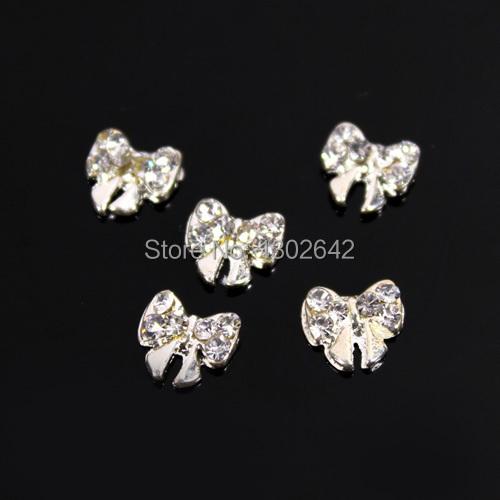 Z4 10pcs/lot Silver Bowknot 3D Alloy Rhinestone Line DIY Nail Art Nail Accessories For Nails(China (Mainland))
