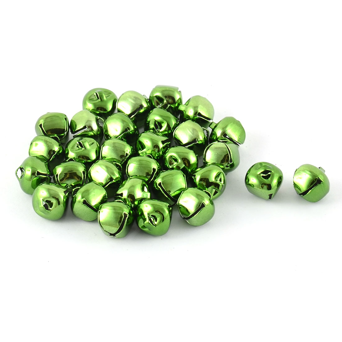 UXCELL Tree Decor Metal Round Shape Christmas Bell Hanging Decoration Lime Green 30 Pcs(China (Mainland))