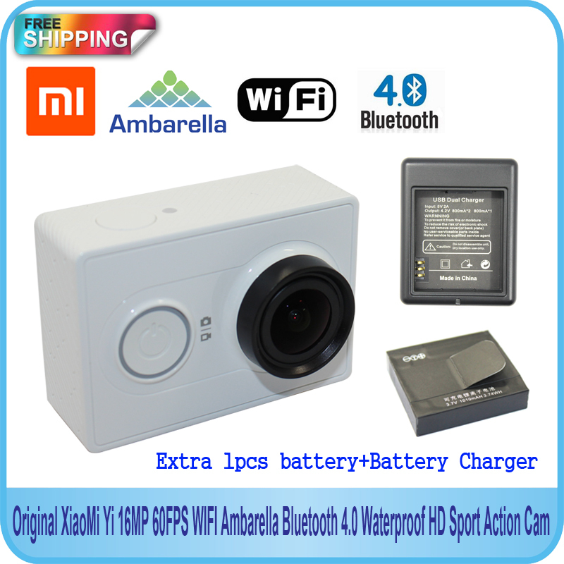 Free Shipping!! Original XiaoMi Yi 16MP 60FPS WIFI Ambarella Bluetooth 4.0 Sport Action Cam +Extra 1pcs battery+Battery Charger