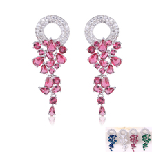 4 Color Luxury Long Dangle Earings White Gold Plated Round Hang Top Quality CZ Diamond Drop Earrings For Women Bridal brinco(China (Mainland))