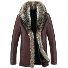 2017 Men's Leather Jacket Faux Lambswool Leather Jacket Men Thick Raccoon Fur Collar Jaqueta Couro Masculino Plus Size 5XL(China (Mainland))