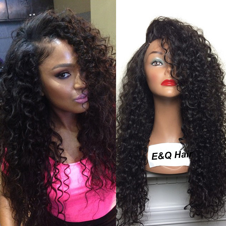 8A Brazilian Curly Full Lace Wigs Human Hair Wig Virgin Brazilian Lace Front Wig Glueless Baby Hair Around For Black Women(China (Mainland))