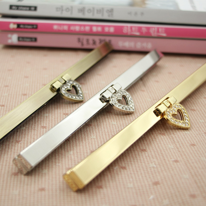 20pcs/lot 19cm heart Antique Bronze Golden Silver tone Metal Purse Frame for wallet Making DIY bags accessory(China (Mainland))