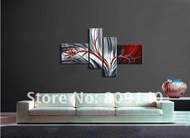 Olie schilderdoek grijs rood nieuwe eigentijdse abstracte decoratie hoge kwaliteit handgemaakte - Eigentijdse design decoratie ...