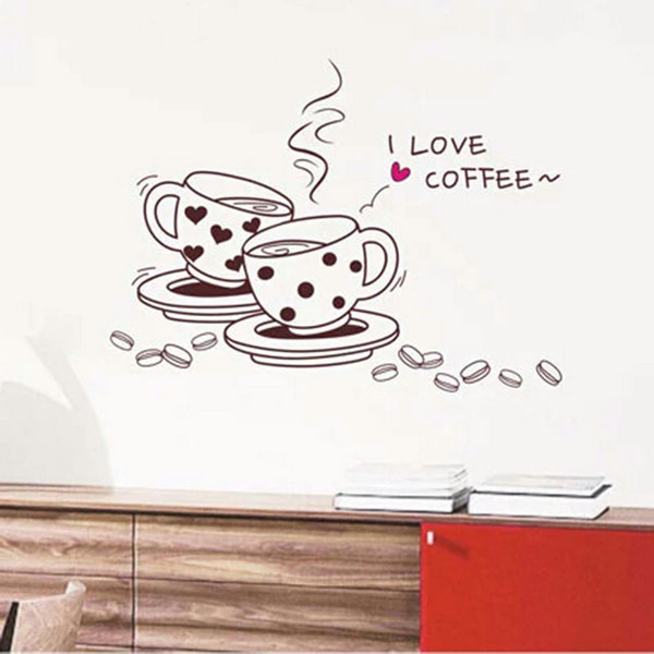 Removable i love coffe dining room wall stickers home for Dining room wall art stickers