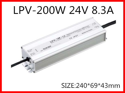 200W 24V 8.3A LED constant voltage waterproof switching power supply IP67 for led drive LPV-200-24(China (Mainland))