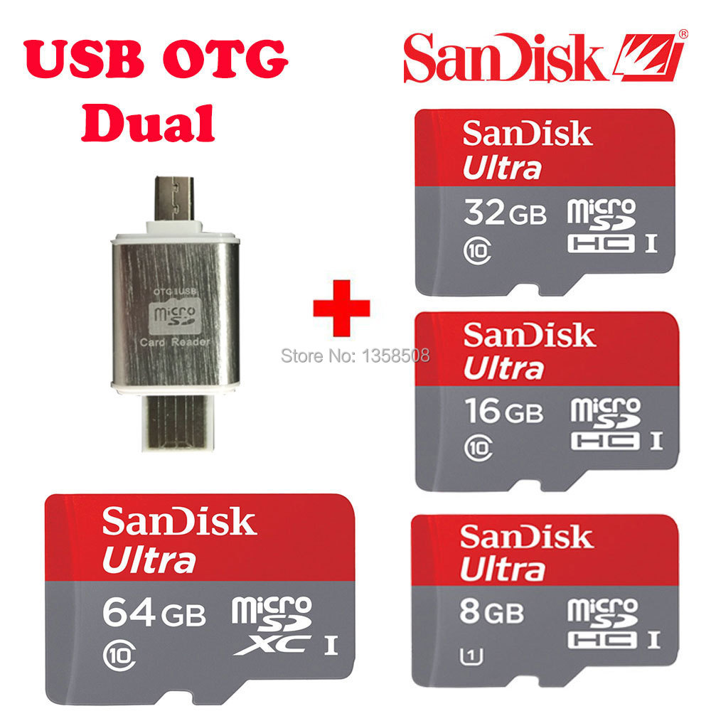 100% Original SanDisk 64gb 32gb 16gb 8gb Ultra 48MB/s micro SD Card TF C10 Class 10 + OTG Dual OTG USB adapter card reader(China (Mainland))