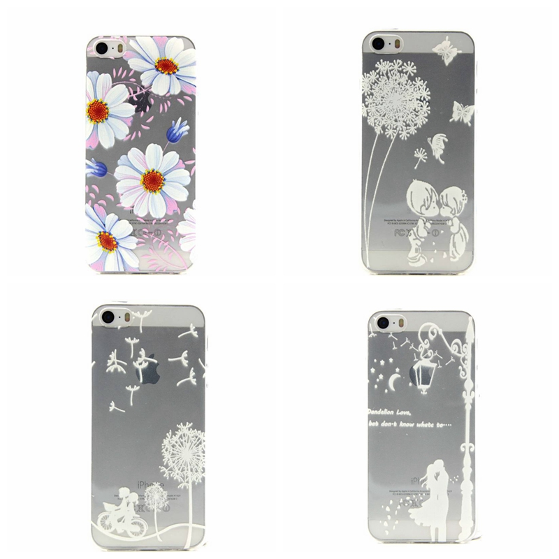 Art Beautiful flowers roses Dandelion romantic couples Pattern TPU Back Cover Protection Cell Phone Case For apple iPhone5 5S SE(China (Mainland))