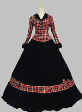 Pink Civil War Ball Gown Dress Tartan Velvet Reenactment Clothing Theatre Wear