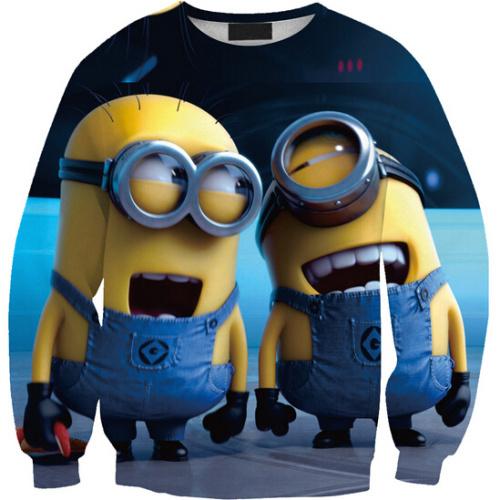 Fashion KNITTING 2015 New Style 0210 Loose Sport 3D Hoodies Two Yellow People With Smile Printed Harajuku Women Sweatshirts(China (Mainland))