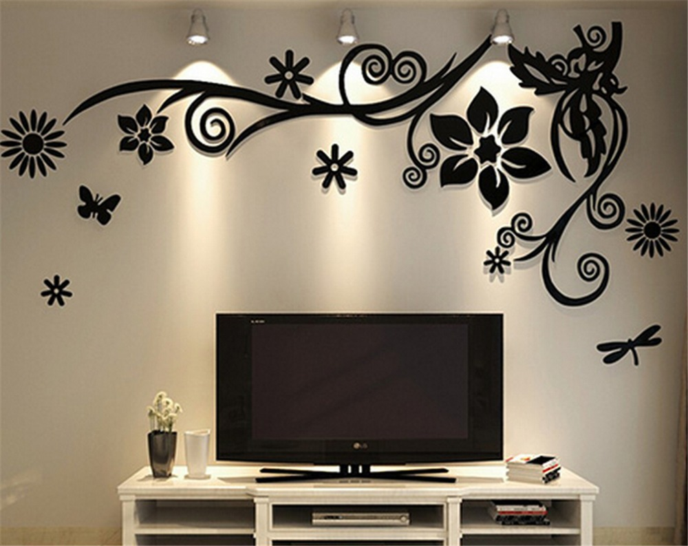3d three dimensional crystal acrylic wall stickers home for Room decor 3