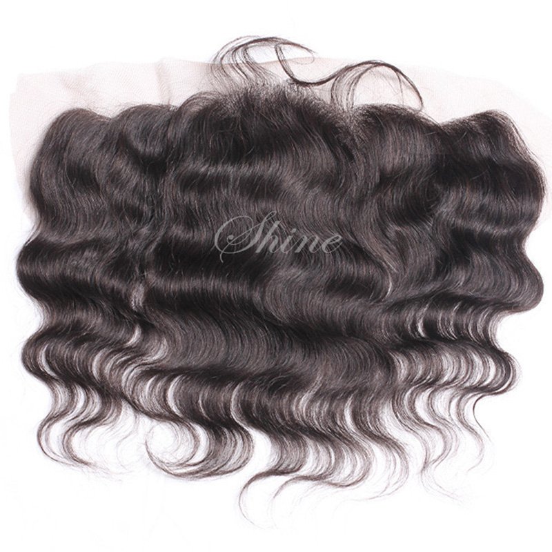 Shine Hair Products Virgin Indian Hair Frontal Closure Body Wave,13x4 Lace Frontal Closure With Baby Hair Free Shipping(China (Mainland))