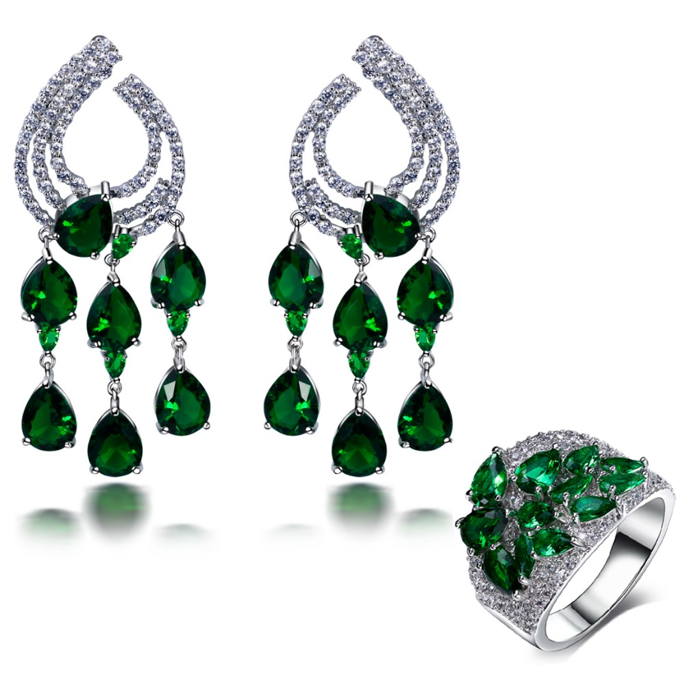 Party Accessories Wedding Jewelry Sets Emerald green water drop stone Earrings with ring sets(China (Mainland))