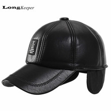 LongKeeper Men's Leather Gloves Mens Golf Hat PU Leather Snapback Baseball Caps Black Winter Bone Hats Gorras Hombre AOT13(China (Mainland))