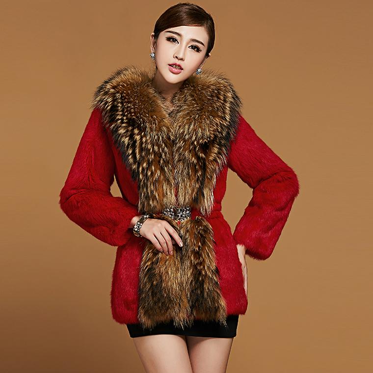 2015 Fashion New Women's fur coat,Raccoon fur collar Rabbit fur coats Ladies rabbit coat fur jackets Free shipping FH008