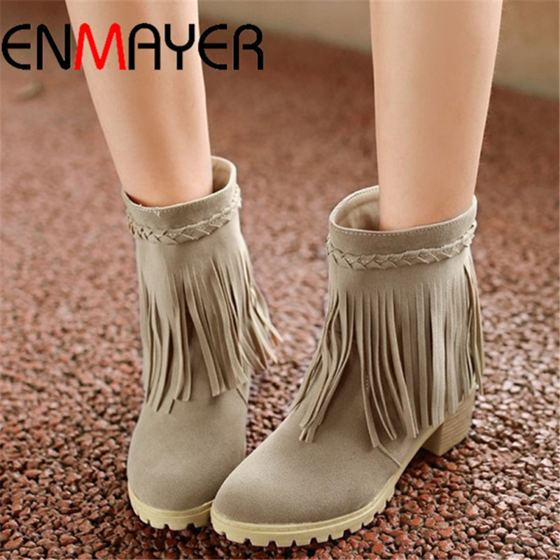 ENMAYER  new 2015 women boots sexy Round Toe Tassel platform pumps snow boots for women fashion winter Ankle boots<br><br>Aliexpress