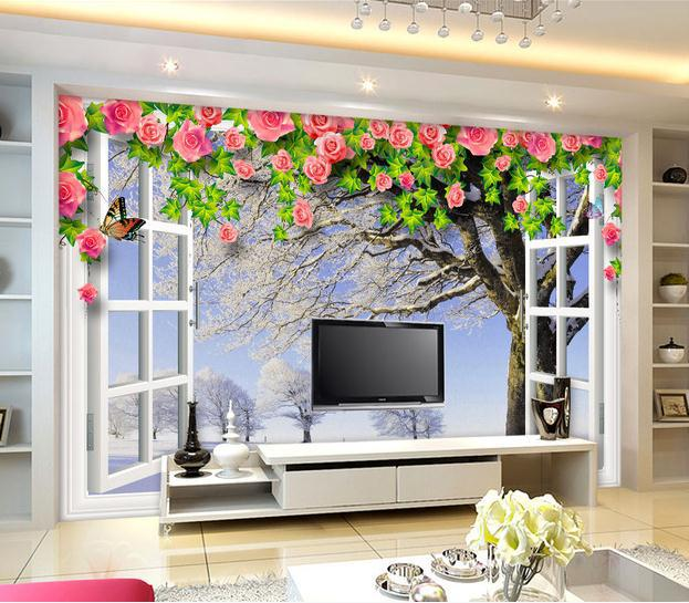 Custom personalized white window winter scene 3d backdrop for Window design wallpaper