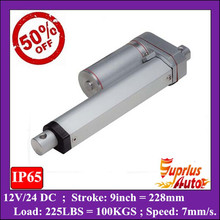 50% Discount ! 228mm/9inch Stroke,1000N/225lbs Load, Electric 12V DC Waterproof IP65 Linear Actuator(China (Mainland))