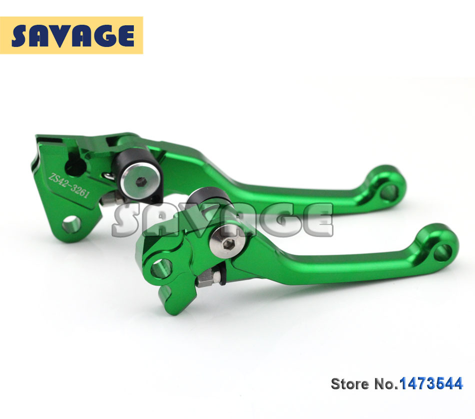 CNC Pivot Brake Clutch Levers For KAWASAKI KX125/250 2006-2008, KX250F/450F 2005-2015 Green Motorcycle accessories