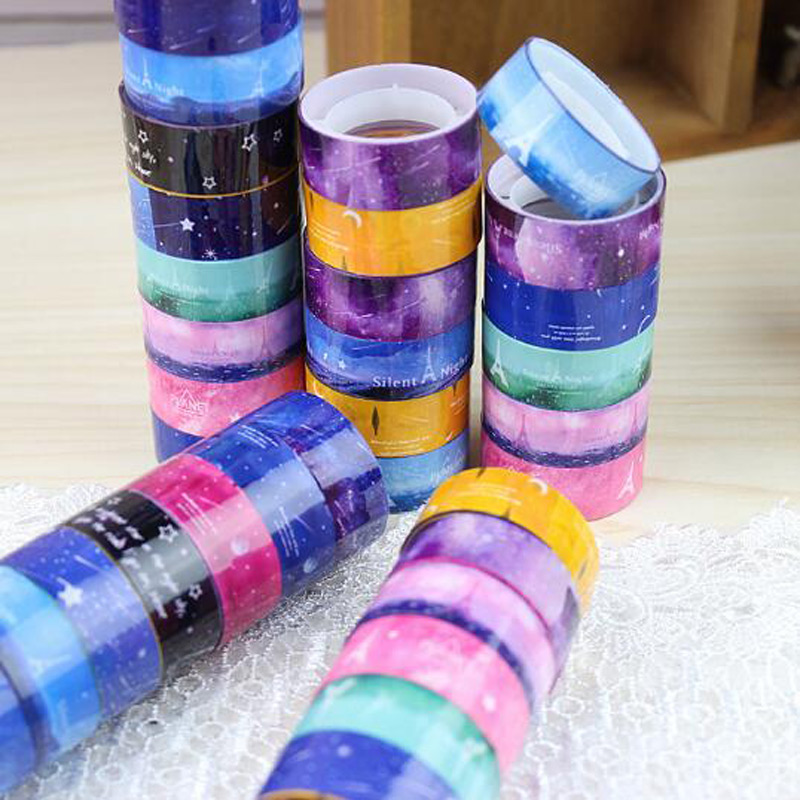 2017 Hot Starry Sky Tape Washi Pvc Roll DIY Decor Scrapbooking Sticker Masking Paper Decoration Tape Adhesive Office Supplies(China (Mainland))