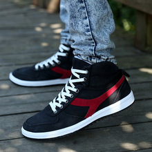 2015 high top canvas fashion men shoes casual breathable flats adult male loafers sneakers size 39
