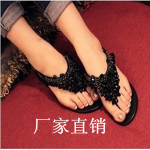 Bohemia 2013 beaded rhinestone flat sandals female flat heel flat women's flip-flop shoes