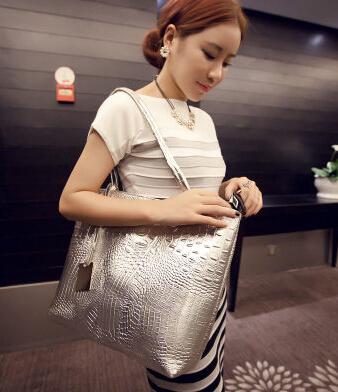 Shoulder Bags Hot Casual Crocodile Women Big Tote Bag 2015 Ladies Handbags Metallic Color Bags For Women Free Shipping(China (Mainland))