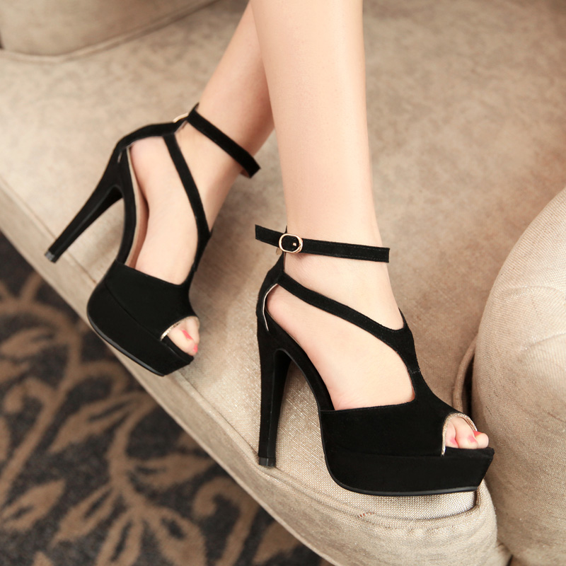 2015 fashion summer genuine leather open toe high heels ultra thin sandals black women's shoes thick heel platform