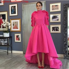 Arabic Dubai Hot Pink Evening Dress With Sleeves High Neck Long Prom Party Dresses Formal Gowns 2016 Women Vestidos De Festa