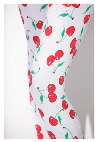 White cherry fruit leggings(China (Mainland))