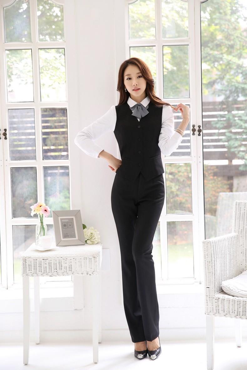 Formal Uniform Design Autumn Winter Professional Business Work Suits Jackets + Pants + Vest Female Trousers Sets Blazers Outfits
