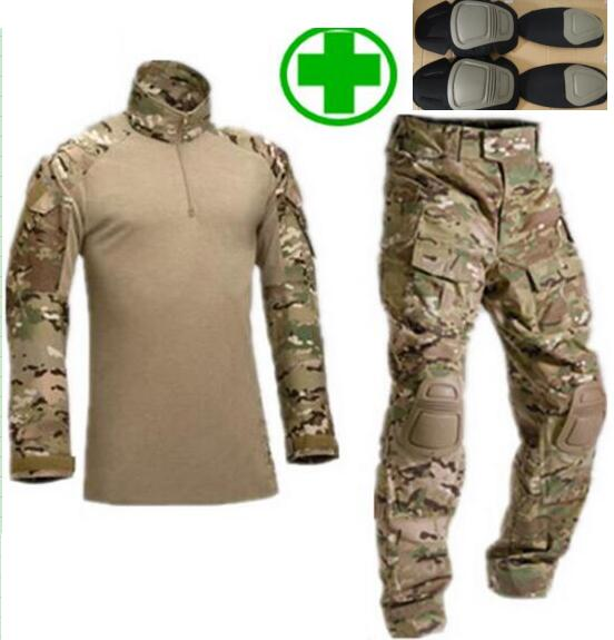 Tactical military uniform clothing army military combat uniform tactical pants with Protective Gear camouflage Army clothes(China (Mainland))