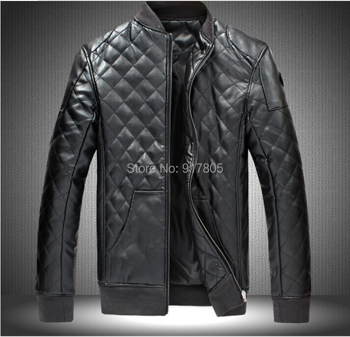 Plus Size 2014 New Autumn Winter Fashion Men PU Leather Jacket Long Sleeve Patchwork Zipper Wind-Proof Outwear Black Coat - Sherry Fu's store