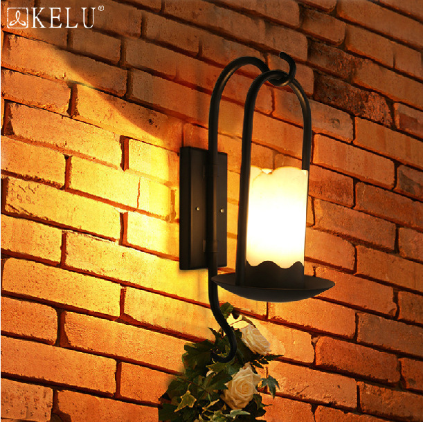 American European creative personality natural retro style wrought iron marble corridor lamp - Lighting By Designer (2 store)