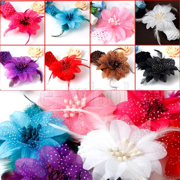 Crochet Girl Feather Flower Headband Headwrap Headbands Headwear(China (Mainland))