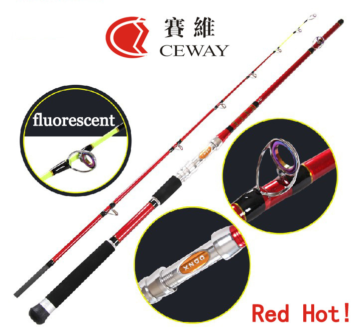 Carbon Fishing Rods Red Boat Rod Power Fish Ocean Rod Fishing Jig Jigging Poles Deep Sea Pole 1.8m 2.1m 2.4m 2.7m FREE SHIPPING(China (Mainland))