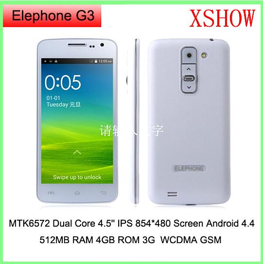 Original Elephone G3 MTK6572 Dual Core Phone 4.5'' IPS 854*480 Screen Android 4.4 Smart Phone 512MB RAM 4GB ROM 3G WCDMA GSM(China (Mainland))