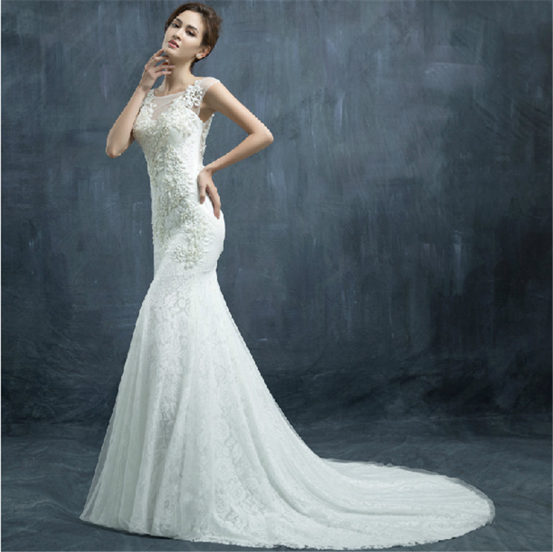 2015 sheath lace mermaid wedding dress beaded applique see for See through lace wedding dress