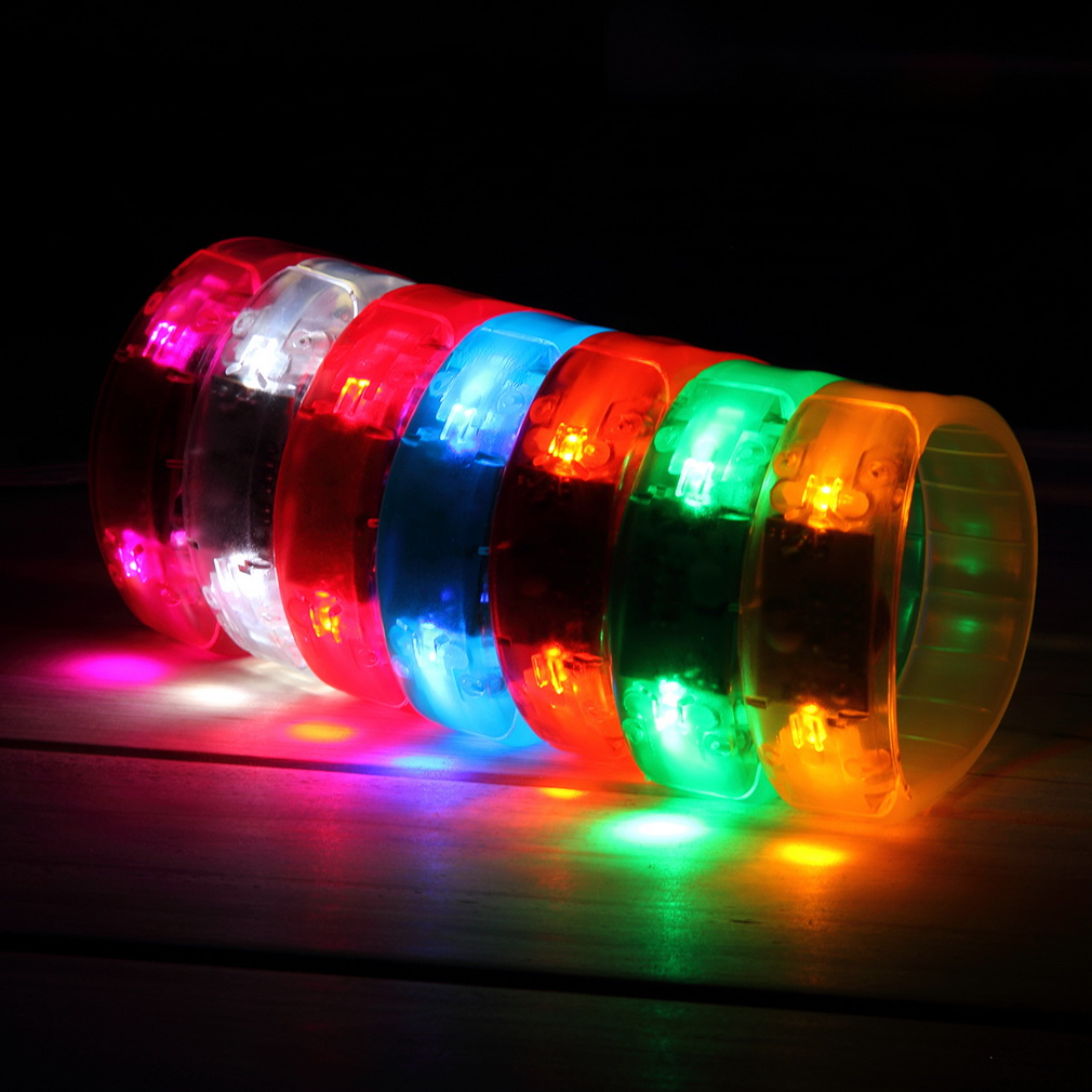 1pc Voice Control LED Flash Bracelet Wrist Nocturnal Warnings Running Gear Glowing Armband For Party Rave Concert Hot Selling(China (Mainland))