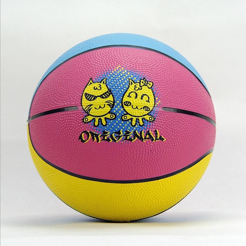 Size 3 1 Soft Rubber Small Cartoon Basketball Playing Ball For Children Kindergarten Game Training Ball(China (Mainland))