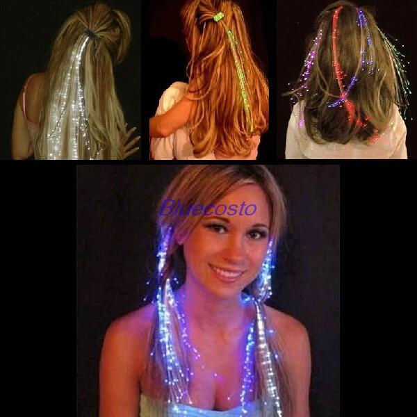 Party Color Changing Fiber Optic Sparkle Glow LED Extension Shine Hair Clips Light Lampe - BlueCosto Online Store store
